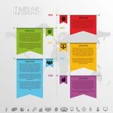 Calibre de conception de chronologie d'Infographic avec des icônes f illustration stock
