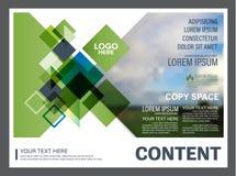 Calibre de conception de disposition de présentation de verdure Page de couverture de rapport annuel  Photo libre de droits