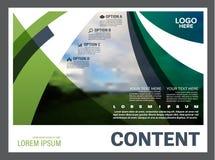 Calibre de conception de disposition de présentation de verdure Page de couverture de rapport annuel  Image libre de droits