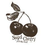 Calibre de conception de logo de vecteur de cerise fruit ou frais illustration libre de droits