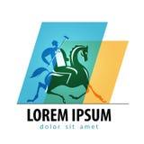 Calibre de conception de logo de vecteur de jeu de polo Polo Player Photographie stock libre de droits