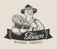 Calibre de conception de logo de vecteur de nourriture Produit-légumes frais de vegetables Photo stock