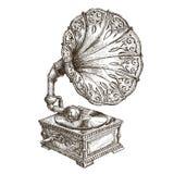 Calibre de conception de logo de vecteur de phonographe musique ou illustration stock