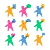 Calibre de conception de logo de vecteur Ensemble de peop heureux abstrait coloré Images stock