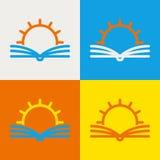 Calibre de conception de logo de vecteur Ligne abstraite le soleil et livre ouvert Ed Photographie stock libre de droits