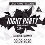 Calibre de conception de soirée dansante de nuit dans le style polygonal Événement de soirée dansante de club Affiche de musique  Photo stock