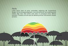 Calibre de conception de vecteur avec des parapluies. Fond Image stock