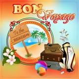 Calibre de conception de voyage avec le paysage exotique et au signe en bois de plage Images libres de droits