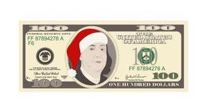 Calibre de conception 100 dollars de billet de banque avec le chapeau rouge de Santa illustration de vecteur