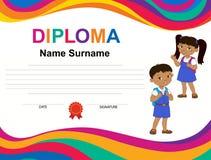 Calibre de conception de fond de certificat de diplôme d'enfants Photo stock