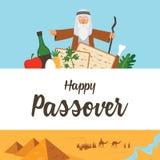 Calibre de conception de Haggadah de pâque L'histoire de l'exode de juifs d'Egypte icônes et scène traditionnelles de l'Egypte de illustration libre de droits