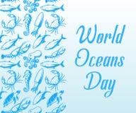 Calibre de conception de jour d'océans du monde Santé d'océan protéger l'affiche Bannière de soin de nature Vecteur d'isolement p illustration libre de droits