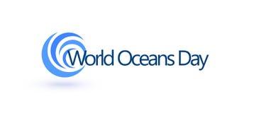 Calibre de conception de jour d'océans du monde Santé d'océan protéger le symbole graphique Logo de soin de nature La planète d'e illustration stock