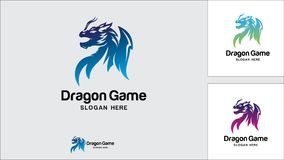 Calibre de conception de logo de dragon, illustration de vecteur, logo de jeu illustration libre de droits