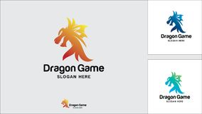 Calibre de conception de logo de dragon, illustration de vecteur, logo de jeu illustration libre de droits