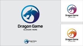 Calibre de conception de logo de dragon, illustration de vecteur, logo de jeu illustration stock