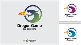 Calibre de conception de logo de dragon, illustration de vecteur, logo de jeu illustration stock