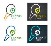 Calibre de conception de logo de sport de tennis de vecteur Championnat d'emblème de tennis Raquette de tennis avec le concept ve illustration stock