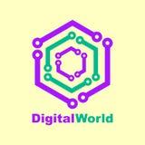 Calibre de conception de logo de technologie du monde Concept du monde de Digital Image libre de droits