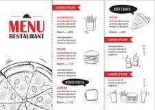 Calibre de conception de menu d'aliments de préparation rapide Couverture h de pizza de restaurant ou de café illustration de vecteur