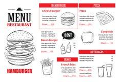 Calibre de conception de menu d'aliments de préparation rapide Cov d'hamburger de restaurant ou de café illustration stock