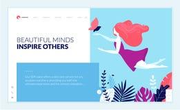 Calibre de conception de page Web pour la beauté, station thermale, bien-être, produits naturels, cosmétiques, soin de corps, lif Images libres de droits