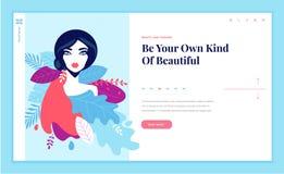Calibre de conception de page Web pour la beauté, station thermale, bien-être, produits naturels, cosmétiques, soin de corps, lif Image libre de droits