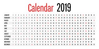 Calibre de conception de planificateur de 2019 calendriers Photographie stock libre de droits