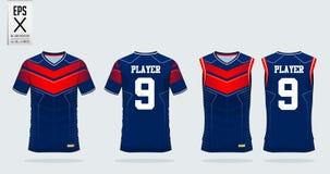 Calibre de conception de sport de T-shirt pour le débardeur de football, kit du football, dessus de réservoir pour le débardeur d illustration de vecteur