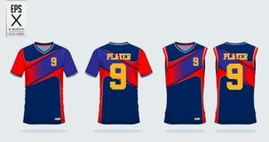 Calibre de conception de sport de T-shirt pour le débardeur de football, kit du football, dessus de réservoir pour le débardeur d illustration stock