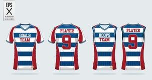 Calibre de conception de sport de T-shirt pour le débardeur de football, le kit du football et le dessus de réservoir pour le déb illustration stock