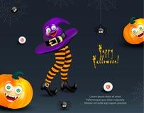 Calibre de conception de vacances de Halloween avec le copie-espace pour le texte Potirons heureux avec le visage de monstre et l illustration de vecteur