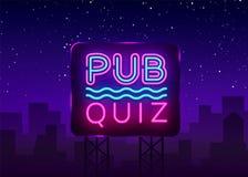 Calibre de conception de vecteur d'affiche d'annonce de nuit de jeu-concours de bar Enseigne au néon de nuit de jeu-concours, ban Images libres de droits