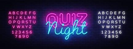 Calibre de conception de vecteur d'affiche d'annonce de nuit de jeu-concours Enseigne au néon de nuit de jeu-concours, bannière l illustration libre de droits