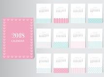 Calibre de conception de vecteur du calendrier 2018 avec le modèle abstrait, ensemble de 12 mois, illustrations Images stock