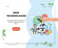Calibre de conception de vecteur de page d'accueil de site Web de nouvelles technologies illustration de vecteur