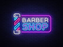 Calibre de conception de vecteur de signe de Barber Shop Logo au néon de Barber Shop, tendance colorée de conception moderne de b Image libre de droits