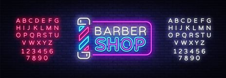 Calibre de conception de vecteur de signe de Barber Shop Logo au néon de Barber Shop, tendance colorée de conception moderne de b Illustration Stock