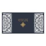 Calibre de coupe de laser de carte de mariage de vecteur Éléments décoratifs de cru Photos stock