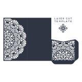 Calibre de coupe de laser de carte de mariage de vecteur Éléments décoratifs de cru Photographie stock libre de droits