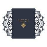 Calibre de coupe de laser de carte de mariage de vecteur Éléments décoratifs de cru Images stock