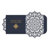 Calibre de coupe de laser de carte de mariage de vecteur Éléments décoratifs de cru Photo libre de droits