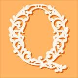 Calibre de coupe de laser Lettres initiales de monogramme Lettre florale de fantaisie d'alphabet illustration de vecteur