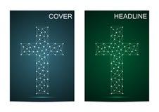 Calibre de couverture de brochure avec la croix chrétienne religieuse Structure de connexion avec la ligne et les points Illustra Images stock