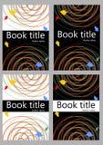 Calibre de couverture de livre dans différentes variantes de couleur Courbes colorées abstraites sur le fond blanc ou noir illustration libre de droits