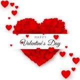 Calibre de couverture heureux de carte de voeux de jour du ` s de Valentine Cadre de coeur avec le label Coeur se composant d'une Photo libre de droits