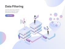 Calibre de débarquement de page de concept isométrique d'illustration de filtrage de données Concept de construction plat de conc illustration stock