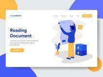 Calibre de débarquement de page de concept de Reading Document Illustration d'homme d'affaires Concept de construction plat moder photos libres de droits