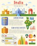 Calibre de déplacement d'infographics de vecteur d'Inde avec des points de repère et des diagrammes illustration stock