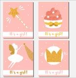 Calibre de design de carte de fête de naissance Il ` s qu'une fille carde avec les petits gâteaux éclatants d'éléments, baguette  Illustration Stock